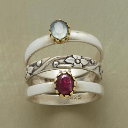 GEMS AND FLOWERS RING TRIO