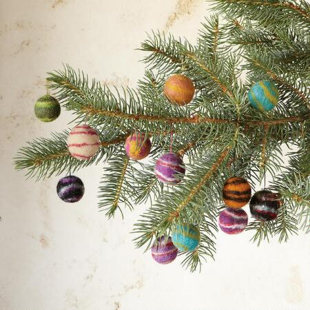 FELTED WOOL ORB ORNAMENTS, SET OF 12