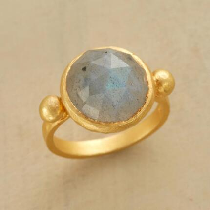 Warm and cool by turns, this ocean's heart labradorite dome ring is simply lovely.