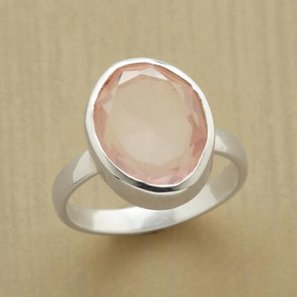 With its soft rosy glow, this rose quartz blush ring will leave you enchanted.