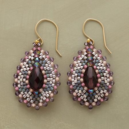 A pair of Miguel Ases bead mosaic earrings that beguiles with its intricate design.