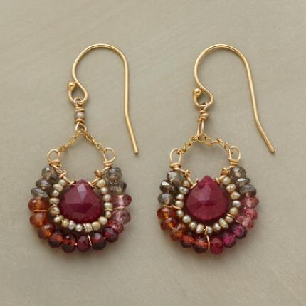 With their sumptuous hues, these gemstone bead and corundum drop earrings exude a warm grace.