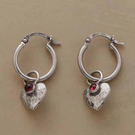 GARNET HEARTBEAT EARRINGS