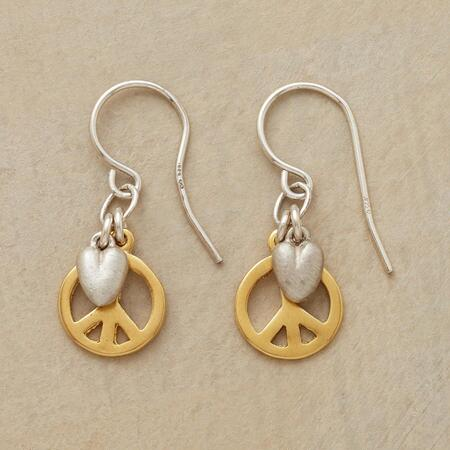 These peace and love earrings impart and broadcast a sense of warm serenity.