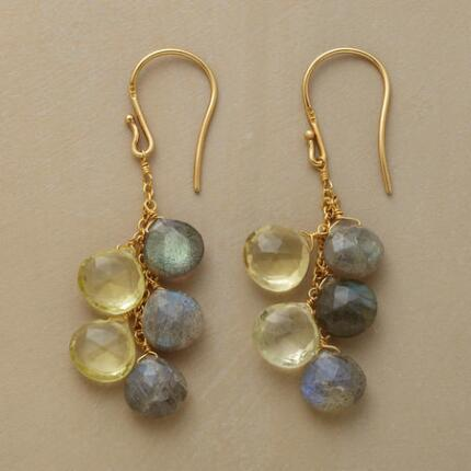 Lustrous and changeable, these topaz and labradorite earrings shimmer with mercurial light.