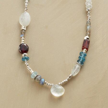 A lovely handmade night sky gemstone necklace that sings in hushed hues.
