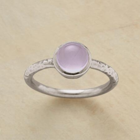 A rose quartz cabochon ring, designed for sweet simplicity, and pure loveliness.