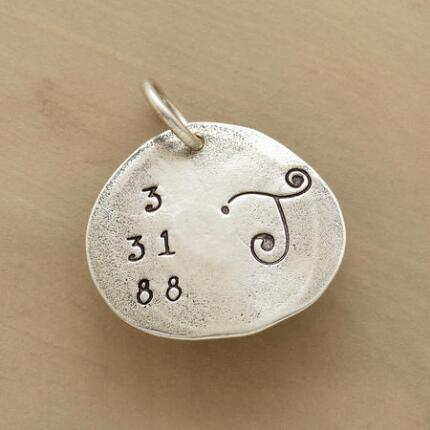 STERLING SILVER DATE & INITIAL CHARM