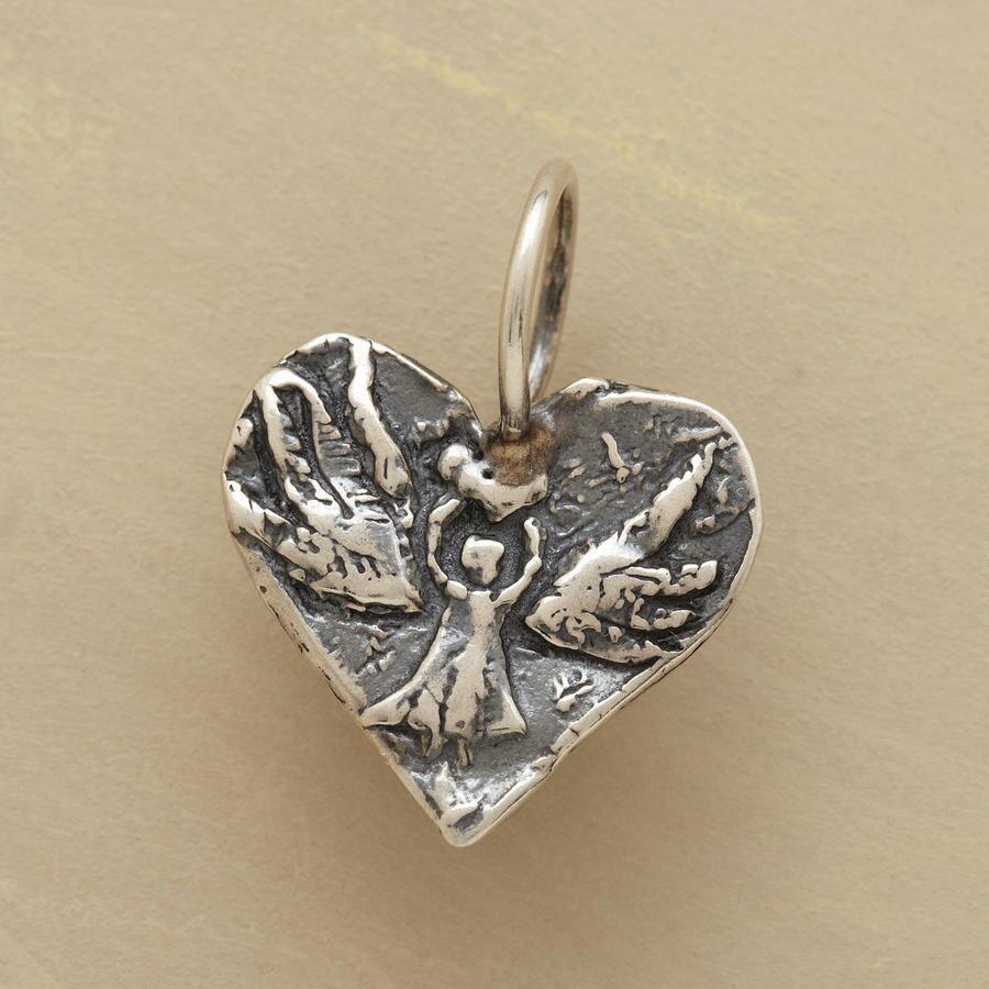 STERLING SILVER ANGEL HEART CHARM