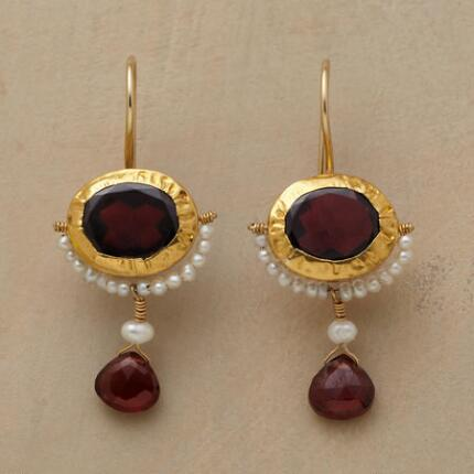 TWO GARNET EARRINGS