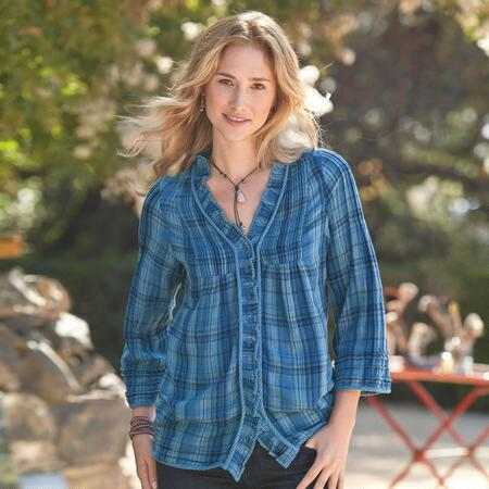 TWICE THE CUTE PLAID RUFFLE SHIRT