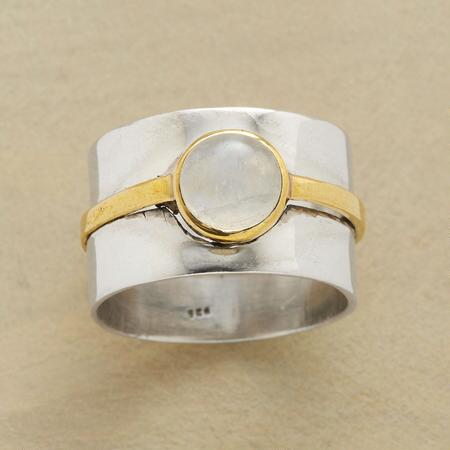 A double banded moonstone ring lets you accessorize with twice the glamor.