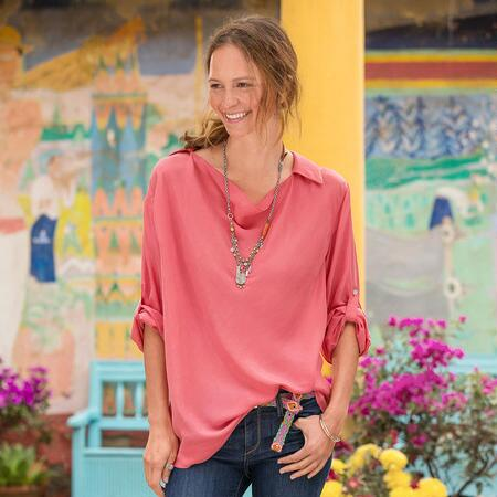 MADISON SILK COWLNECK TUNIC