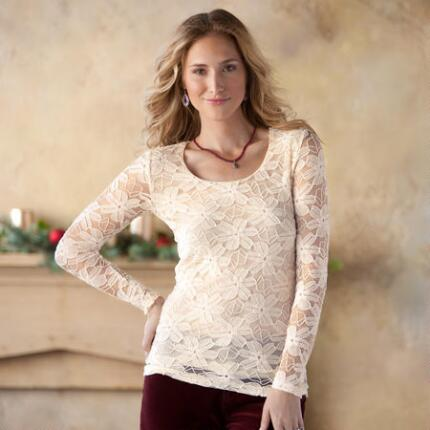HAZEL FLOWER LACE L/S TOP