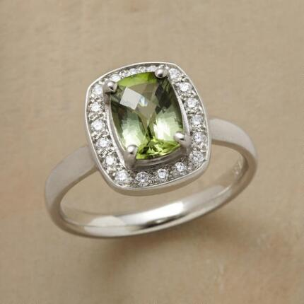 An emerald cut tourmaline ring with ample sparkle for a special occasion.