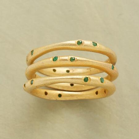 SPRINKLING OF EMERALDS RING TRIO
