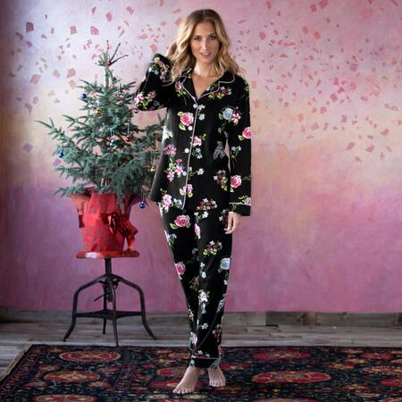 CLASSIC KNIT PJ SET BLACK BOTANICAL