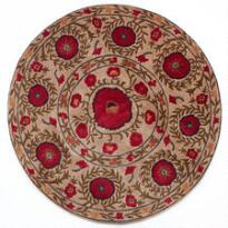 ROUND FIELD OF POPPIES RUG