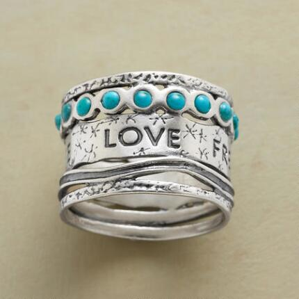 Make a statement set in precious metal with this lovers turquoise ring.