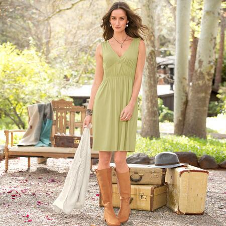 Simply elegant, this classic sleeveless jersey dress makes a splendid layer, or stands alone laudably.