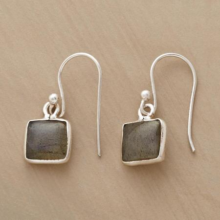 RIMMED LABRADORITE EARRINGS