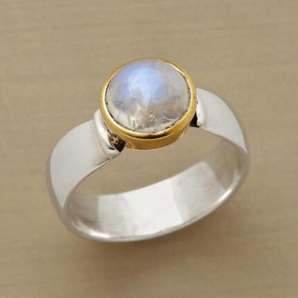 Feel free to wear this stunningly versatile rainbow moonglow ring with everything.
