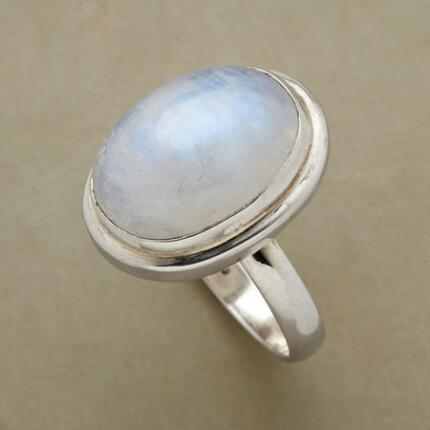 You'll love the sweet luminescence of this bezel-set cabochon moonstone ring.