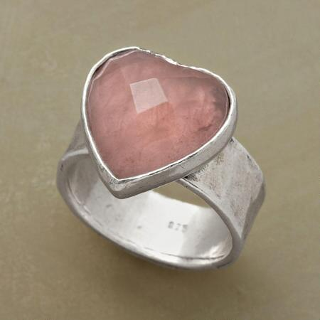 Tenderly crafted, this lovely rose quartz heart ring will make you swoon.