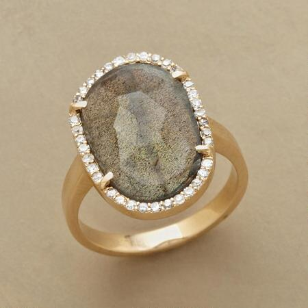 DIAMONDS AND LABRADORITE RING