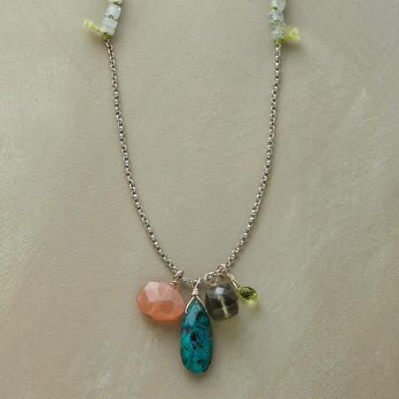 SUNSTONE AND DROPLETS NECKLACE