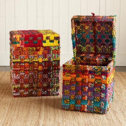 ONE OF A KIND MULTICHECK WOVEN STORAGE BOXES, SET OF 2