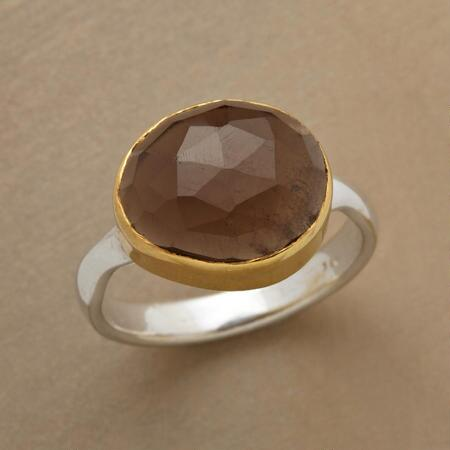 SIDEWAYS SMOKY QUARTZ RING