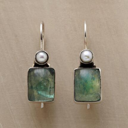 Coolly verdant, these apatite cabochon and pearl earrings make a refreshing splash.