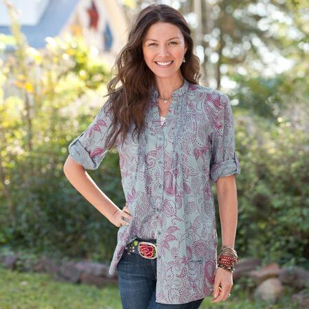 AT EASE PINTUCK TUNIC - PETITES