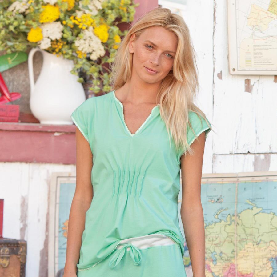 SS PJ TOP WITH TUCKS-SOLID WITH LACE