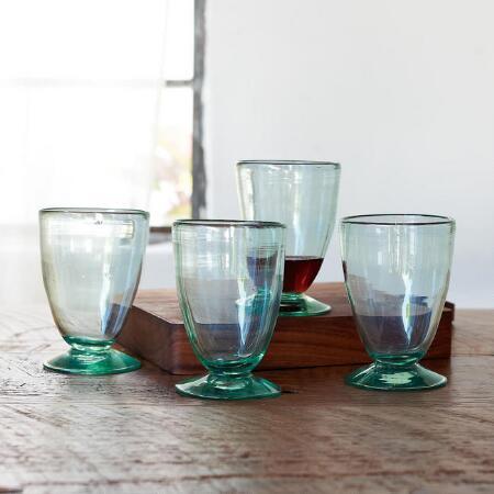 ARTISANAL GLASS GOBLETS S/4