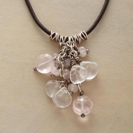 This pretty pink rose quartz necklace sparkles with quiet grace.