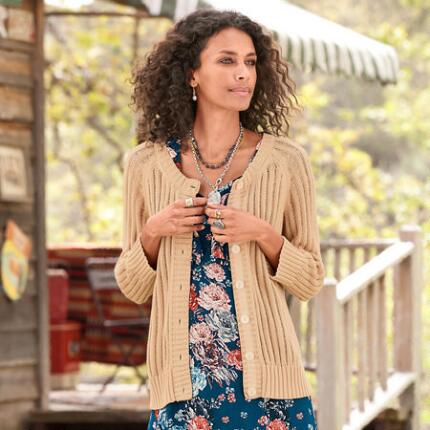 LATTICE RIB CARDIGAN - PETITES