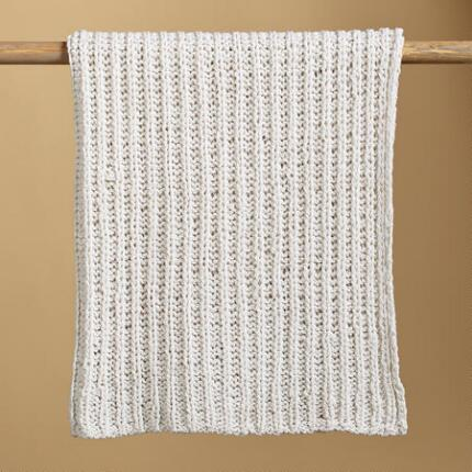 KNIT & PEARL CREAM RIBS THROW BLANKET