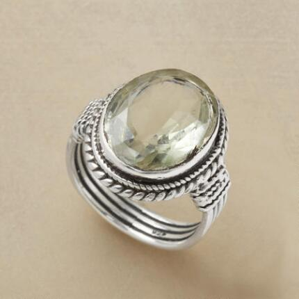 You'll be enchanted by the quiet allure of this green amethyst & silver ring.