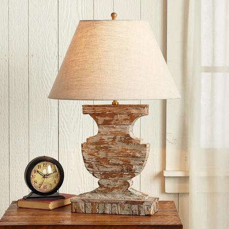 RUSTIC WOOD URN LAMP