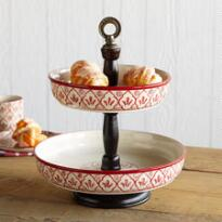 RED FLOWER TWO-TIER EPERGNE