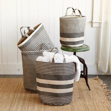 STRIPED STORAGE QUARTET, SET OF 4