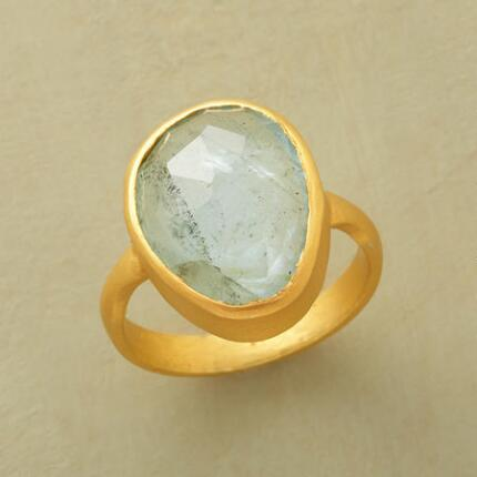 Each one-of-a-kind organic gold aquamarine ring sings with a loveliness all its own.