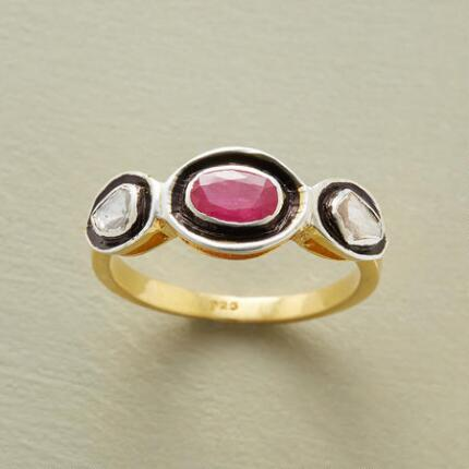 This ruby diamond ring delivers everyday wearability with the perfect touch of glamour.