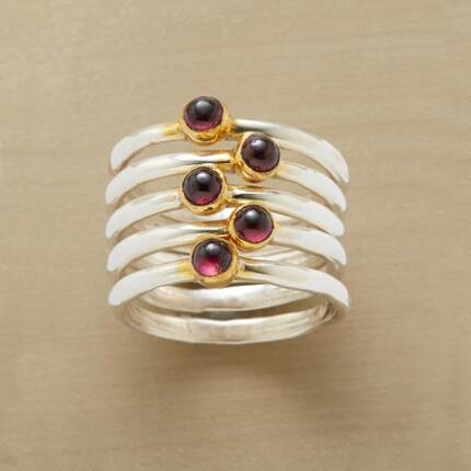 Just one of these red garnet stack rings would be a treat, but five make a feast for the eyes.