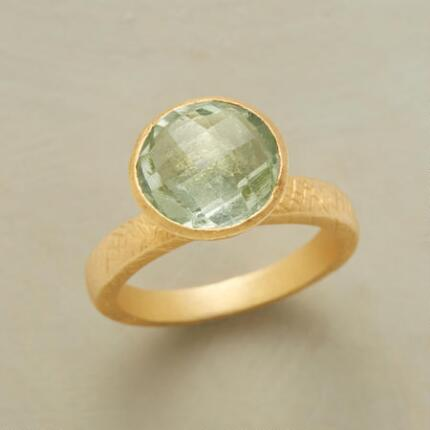 With its cool luminescence, this green amethyst signet ring has an otherworldly air.