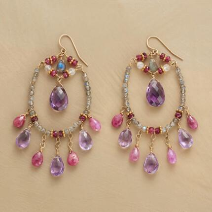 Sumptuous and lively, these Thoi Vo dangling gemstone hoop earrings make a gorgeous statement.