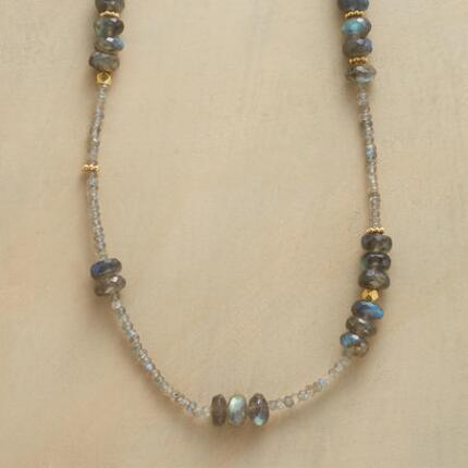 A long labradorite necklace that delights with its surprising flashes of vibrancy.