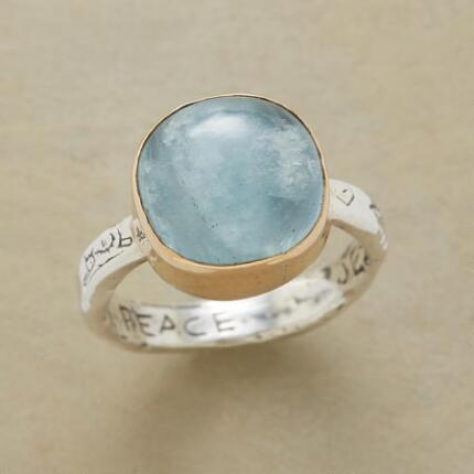 Emanating serenity, this heavenly peace aquamarine ring will bring a harmony to your mind and style.